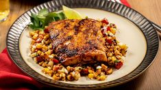 Blackened Handline Caught Atlantic Striped Bass with OLD BAY Esquites Chili Seasoning Mix, Pumpkin Vegetable, Creamy Potato Salad, Apple Chicken, Spice Set, Bean Casserole, Dishes Recipes, Food Dishes, Grilling Recipes