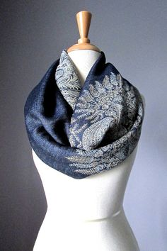 CUSTOM LISTING / Midnight Blue scarf and Orange by ScarfObsession