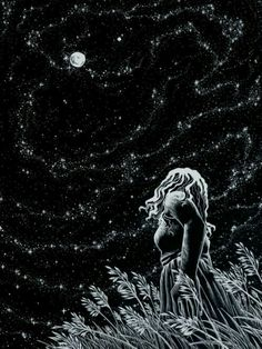 Summer Night ~ by artist AkagenoSaru - technical pen with white ink on black paper (stars, moon, art, illustration) Art And Illustration, Ink Illustrations, Sacred Feminine, Wow Art, To Infinity And Beyond, Pics Art, Art Inspo, Fantasy Art, Art Drawings