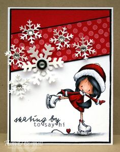 "Paper Perfect Designs by Kim O'Connell: Tiddly Inks ""Skating By"" clear stamp set Funny Christmas Cards, Christmas Tag, Xmas Cards, Handmade Christmas, Holiday Cards, Winter Karten, Tiddly Inks, Winter Cards, Card Sketches"
