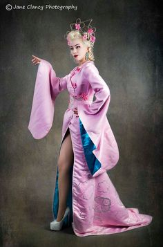 Geisha inspired burlesque costum and headpiece