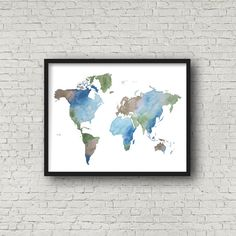 Neutral World Map Watercolor Painting by EmilieTaylorLLC on Etsy  World map, home decor, wall art, room decor, office decor, world map pin poster, watercolor painting, earth map, explore, travel, pin map, adventure awaits, wall poster, watercolor world, destination unknown, to see the world, not all who wander are lost. Map wall art, #mapdecor