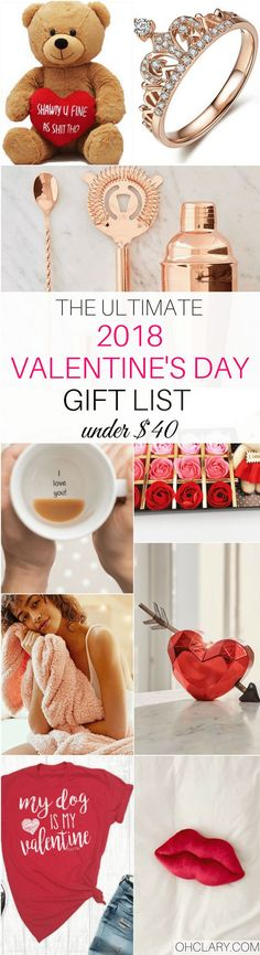 The Ultimate list of Best Gifts for Valentine�s Day 2018! If you are still stuck on what to get your babe then check this list out for great ideas! Nothing over $40! Valentines Day Gifts, Valentine�s Day Gifts, Valentine�s Day Gifts for Her, Romantic Gift