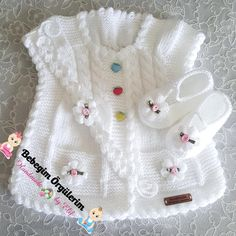 This post was discovered by il Baby Cardigan Knitting Pattern Free, Crochet Baby Jacket, Crochet Baby Dress Pattern, Knitted Baby Cardigan, Knitted Baby Clothes, Baby Girl Crochet, Knitted Baby Blankets, Baby Knitting Patterns, Knitting Designs