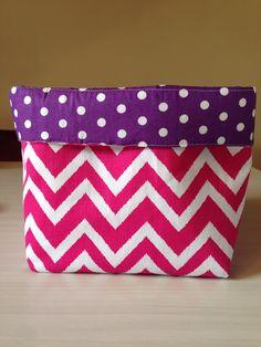 Pink / white Chevron & purple polka dot reversible storage basket