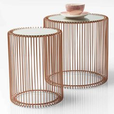 Mirrored Copper Side Tables (set of 2)