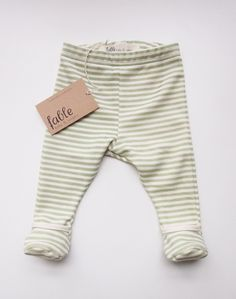 Hand Printed Organic Cotton Unisex Baby Legging with Bootie - Apple Stripe on Cream / Fable Baby and Nursery