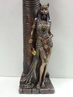 a8175038 Egyptian Goddess Bast Bastet Cat Statue Leaning on Candle Pillar #WU76698A4  5 Egyptian Cats,
