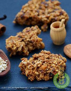 Gluten-free granola cookies. Gluten Free Cooking, Gluten Free Recipes, Granola Cookies, Gluten Free Granola, Healthy Cookie Recipes, Tasty, Cottage, Baking, Bakken