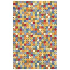 This unique handmade dots wool rug is a pillow for your feet. The half-inch pile height provides the ultimate cushioned floor coverings. The variety and arrangement of bold, abstract colors make this rug an eye-catching addition to any space.