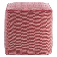 DURRIE Red knitted patterned footstool