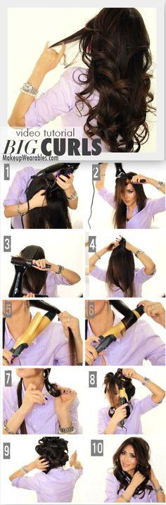 Kim Kardashian Big Curls Tutorial for Medium Long Hair Prom Wedding Everyday Hairstyles