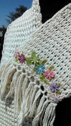 Quick & Easy Tunisian Crochet Flower Edged Scarf with Photo Tutorial by Marcia McCormack
