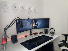 My battle station and office. What do you all think? Gaming Desk Setup, Computer Setup, Pc Setup, Pc Gamer, Computer Station, Home Office Setup, Aesthetic Rooms, Home Studio, Apartment Design
