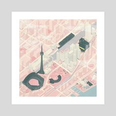South Core, an art print by Kathleen Fu Architecture Collage, Architecture Graphics, Architecture Drawings, Landscape Architecture, Isometric Drawing, Hand Sketch, Graphic Design Inspiration, Architectural Presentation, Illustrators