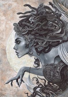 Beautiful representation of Medusa as a witch. Medusa was born as an ordinary maiden, and then once cursed by the goddess Athena, she became a witch who used her powers to turn people to stone. Medusa Drawing, Medusa Art, Medusa Gorgon, Medusa Painting, Medusa Tattoo Design, Greek Mythology Tattoos, Greek Mythology Art, Greek Mythology Costumes, Greek Goddess Tattoo
