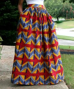 Red & Yellow Tribal Maxi Skirt