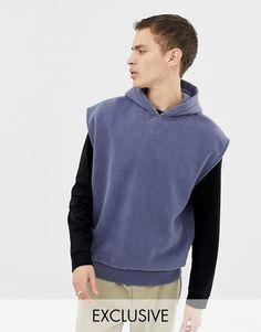 Shop the latest Reclaimed Vintage overdye sleeveless hoodie trends with ASOS! Zip Hoodie, Reclaimed Vintage, Hoodies For Sale, Sleeveless Hoodie, Nike, Slim Fit, Asos Men, Sweatshirts, Fabric Books