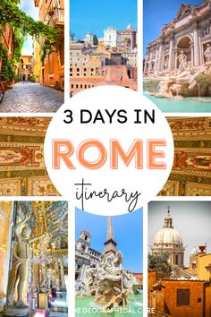 Planning a future vacation in dreamy Italy? The exciting and ancient capital of Rome is likely on your bucket list. This is the perfect three day itinerary for making the most of your time in Rome. This Rome itinerary takes you to all of Rome's must see sites, historic landmarks, ancient ruins, and even some hidden gems in Rome. It also covers the best museums in Rome, where you can see both Renaissance and ancient classical art. Rome Destinations | Rome Itineraries | What To Do and See in… Italy Travel Tips, Rome Travel, Europe Travel Guide, Travel Guides, Travel Destinations, 3 Days In Rome, Day Trips From Rome, Capital Of Rome, Weekend City Breaks