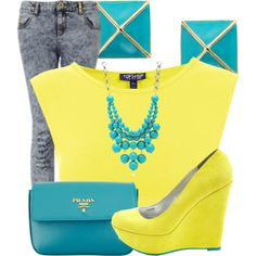 Yellow and Teal, created by nenedopesauce on Polyvore