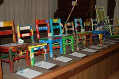 Chairs created by each classroom for bid at our recent auction. Work from home and advertise for us. Great opportunity to make a full time income working part time. School Auction Projects, Class Art Projects, Classroom Art Projects, Art Classroom, Auction Ideas, Silent Auction Baskets, Home Decor Baskets, Raffle Baskets, Gift Baskets
