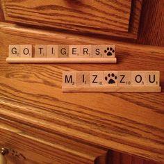 MIZZOU GO TIGERS Scrabble Decor Love the paw prints! Ticket Stub Box, Sports Banquet Centerpieces, Great Graduation Gifts, College Dorm Decorations, Home Office Decor, Office Ideas, Bubble Envelopes, Wood Glue, Shop Signs