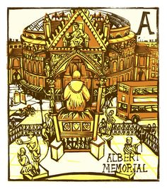 "Tobias Till ~ ""A"" Albert Memorial from London A-Z Complete Boxed Set (2012) ~ Linocut, Somerset satin 250 gsm paper, 41.5 x 37.5 cm"