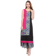 Rayon Multicolour Printed Stitched Straight Kurti - SSV5108