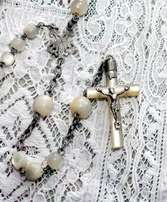 (via Antique French Mother of Pearl Sterling Rosary)