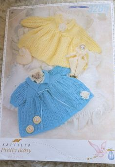 Baby Lacy Dresses long & short sleeve Hayfield 3285 knitting pattern  #Hayfield