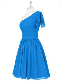 One Shoulder Blue Chiffon Ruched Short/Mini Bridesmaid Dresses…