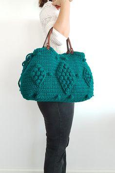 BAG // Green Tote Handbag Leather Bag Leather Tote by Sudrishta