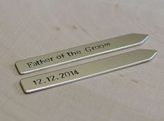 Sterling silver father of the groom collar stays -