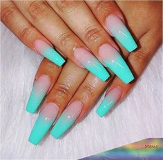 Turquoise Acrylic Nails, Aqua Nails, Best Acrylic Nails, Summer Acrylic Nails, Summer Nails, My Nails, Glitter Nails, Turquoise Nail Designs, Acryl Nails