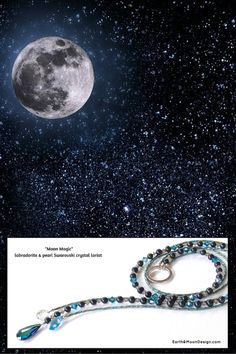 """Our Moon Lariats are back just in time for the holidays and sell out quickly.  Enhance your style and personal sparkle with the deep blues and crystal of """"Moon Magic"""", $69:"""