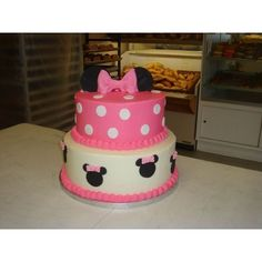 Special Gift From My Heart: Pink Minnie Mouse Cake found on Polyvore