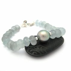 Tahitian Black Pearl Faceted Misty Blue Stone by MooreaDesign, $156.00