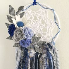 Navy and grey mini crochet doily dreamcatcher by wiltedrosewreaths