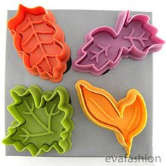 cookie cutters, Leave shape cutters, biscuit cutter, plastic plunger cutters