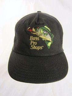 765299d6f68b8 Bass Pro Shops Ball Cap Embroidered Logo Black USA Made Vintage Trucker Hat  Vtg  BassProShops