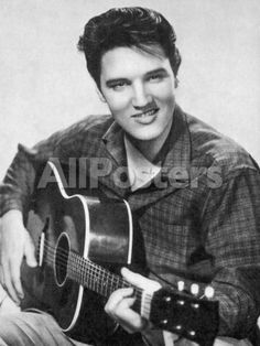 Elvis Presley American Pop Singer Guitarist and Actor in Musical Films Seen Here with His Guitar People Photographic Print - 30 x 41 cm