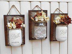 Mason Jar Wall Decor Burlap Decor Farmhouse Decor by TeddysRoom – DIY Crafts Mason Jar Art, Mason Jar Bathroom, Mason Jar Crafts, Mason Jar Projects, Diy Projects, Wood Crafts, Diy And Crafts, Burlap Crafts, Decorated Jars