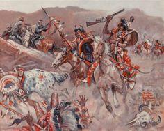 Benton Henderson Clark (American, The Battle of Little Big Horn, 1955 Oil on canvas 24 x 30 in. - Available at 2016 April 26 Illustration Art. Plains Indians, Cowboys And Indians, American Indian Wars, Native American Indians, Sioux, Battle Of Little Bighorn, Rodeo Birthday, Wild West Cowboys, Clark Art