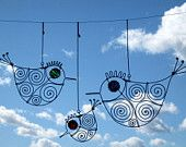 Three Wire Birds Mobile Sculpture from MyWireArt