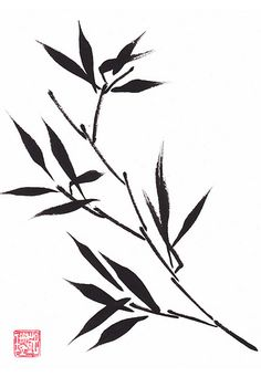 Original Ink Bamboo painting Kathryn Tilley.
