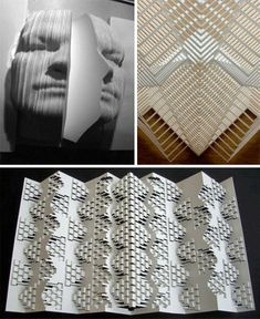 Buildings, cities, geometric shapes and even human faces spring out of three-dimensional folded and cut paper sculptures by Elod Beregszaszi.