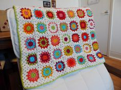 Crochet rainbow granny blanket