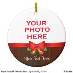 Bryce Scottish Tartan Christmas Photo Double-Sided Ceramic Round Christmas Ornament