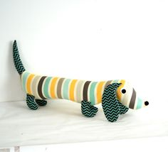 Baby Plush Toy Wiener Dog Children's Soft Doll Stripes GLENN. $28.00, via Etsy.