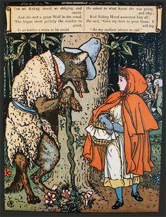 Walter Crane illustration of Little Red Riding Hood